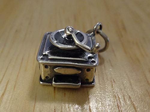 Sterling Silver 3D 18x13x11mm Movable Detailed Coffee Grinder Charm