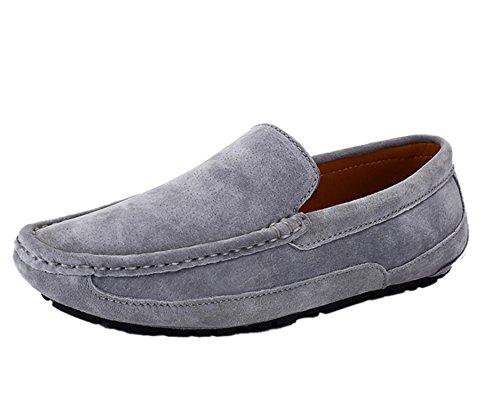 Icegrey Hommes Mocassins Cuir Suedé Loafers Casual Bateau Chaussures de Ville Flats Gris 41