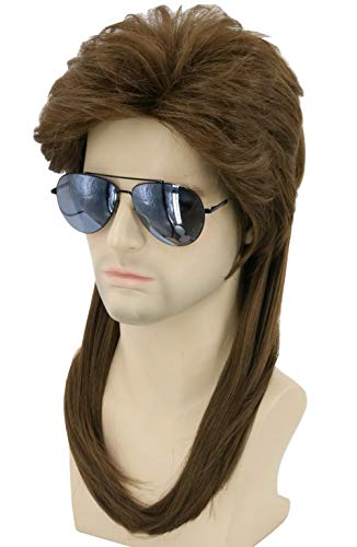 Topcosplay 80s Wig Brwon Mullet Wig Redneck Wig Mens Wig Halloween Costume Accessories Rock Wigs -
