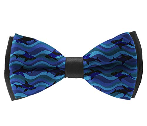 Formal Pre-Tied Bow Tie - Blue Wave Shark - Birthday Gift Banquet Suit Neck Band Cravat, Adjustable Length Plain Bow Ties ()