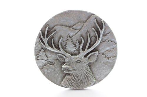 Grillie Deer-P Antiqued Pewter Finish Grille Ornament (Deer Emblem)