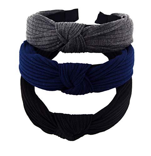 STHUAHE Pack of 3 Women Wide Stripes Cloth Cross Knot Hair Hoop Hairband Headband Hair Accessories (black Darkgrey -