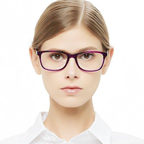 Eyeglasses Acetate - OCCI CHIARI Womens Fashion Non-Prescription Acetate Eyeglasses Frames with Clear Lens (Purple, 53-17-140)