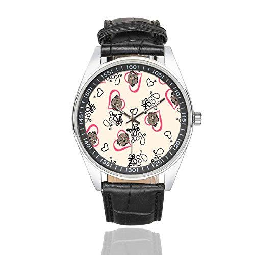 - InterestPrint Men's Fasion Watches Bulldog Puppy Hearts Waterproof Leather Strap Wrist Watch