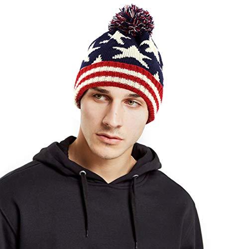 American Flag Cuffed Knit Hat USA Flag Beanie with Pom Pom Winter Thick Cuffed Ski Hat (American Flag Pom Pom Hat)