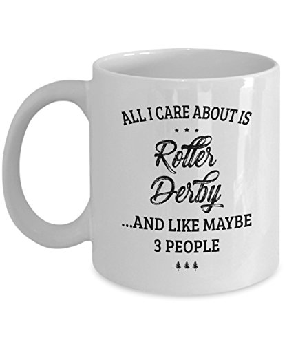 Roller Derby Mug - I Care And Like Maybe 3 People - Funny Novelty Ceramic Coffee & Tea Cup Cool Gifts for Men or Women with Gift - Helmet Kids Tracer