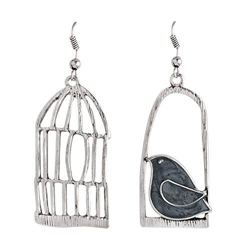 palettei Vintage Metal Birdcage Bird Dangle Earrings Asymmetry Animal Drop Earrings Women Fashion Jewelry Gift (Silver)