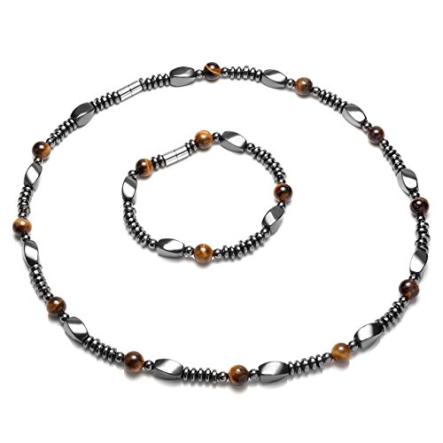 (Top Plaza Men's Womens Healing Tiger Eye Stones Hematite Magnetic Beads Unadjustable Clasp Therapy Bracelet Necklace Set for Pain Anxiety Relief, 1)