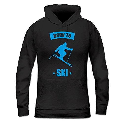 Sudadera con capucha de mujer Born To Ski by Shirtcity Negro