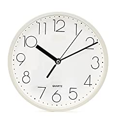 SANNIX Silent Decorative Round Non-ticking Quartz Digital Wall Clock-White,9inch