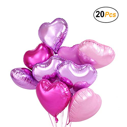 18 inch Pink Heart Balloons Foil Balloons Mylar Balloons for Party Decoration, Pack of 20 ()