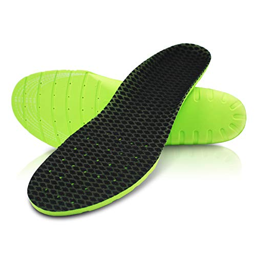 - Anti-skidding Sports Comfort Insoles (1 Pair) - Special for Tennis,Badminton,Baseball,Running,Hiking - Relieving Plantar Fatigue,Daily Wear&Work Shoes,Free Cut (Green-EVA,US Women 8-13 & Men 6.5-11.5)