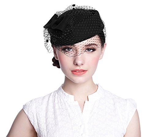 Aniwon Wool Pillbox Hat Retro British Style Cocktail Party Wedding Fascinator Veil Hat for Women