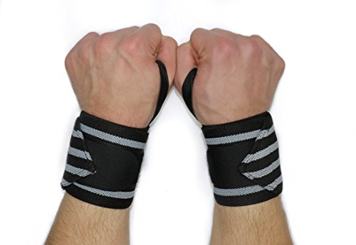 Wrist Wraps for Fitness and Weightlifting Straps by Achilles Athletics: Wrist Support Braces with Thumb Loops- Men and Women - Bodybuilding, Weightlifting, Powerlifting, Strength Training - Pairs.