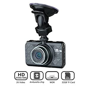 "Z-Edge Z3 3"" Screen 2K 2560 x1080 Ultra HD Car Dash Camera 145 Deg Wide Angle Lens Dash Cams with Ambarella Chip, 32GB SD Card Included, WDR Enhance Night Vision, G-Sensor, Parking Monitor"