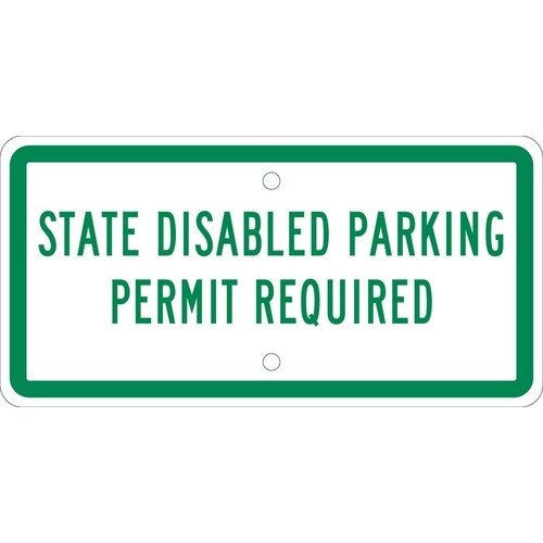 NMC TMAS17H, 6''x12'' All Purpose Aluminum State Disabled Parking Permit Required Sign, Pack of 25 pcs
