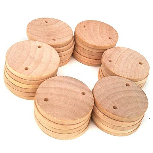 AxeSickle 1.5 inch Round Double Hole Wood Coins Tags 100PCS Wooden Tags for Birthday Boards, Chore Boards or Other Special Dates.
