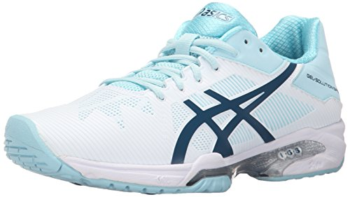 ASICS Women's Gel-Solution Speed 3 Tennis Shoe, White/Blue Steel/Crystal Blue, 10 M US