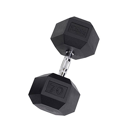 Body-Solid Rubber Coated Hex Dumbbell 70 lb. (70lb Dumbbell)