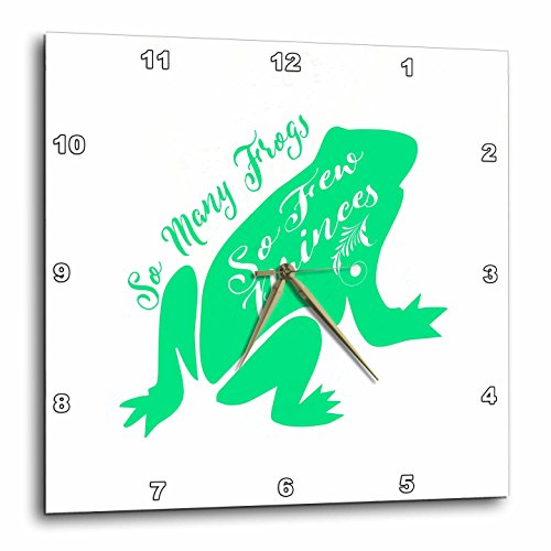 3dRose Russ Billington Designs - Funny Frog Prince Typography design in Green and White - 15x15 Wall Clock (Frog Prince Clock)