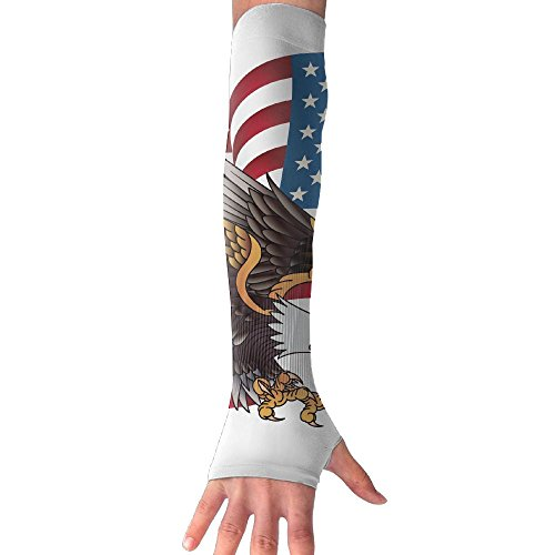 Unisex Freedom Eagle US Flag Anti-UV Cuff Sunscreen Glove Outdoor Sport Fishing Running Half Refers Arm Sleeves by HBSUN FL