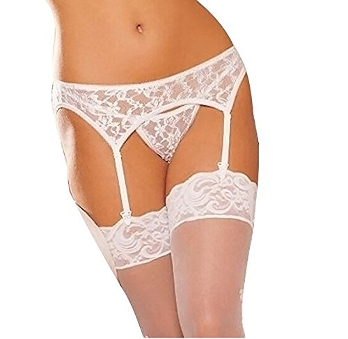 (MISMXC Women's 3 Pieces Lace Garter Belt Stockings Sets with Butterfly Panty (White)