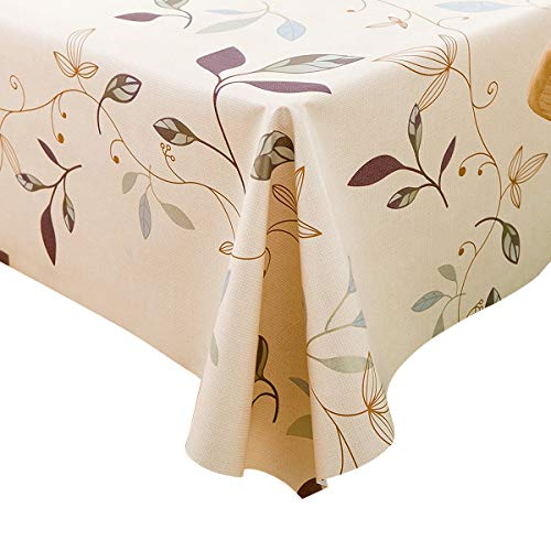 - LEEVAN Heavy Weight Vinyl Rectangle Table Cover Wipe Clean PVC Tablecloth Oil-Proof/Waterproof Stain-Resistant- 54 x 78 Inch (Autumn Leaves)