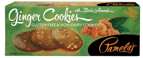 Pamela's Products Gluten Free Cookies, Ginger with Sliced Almonds, 7.25-Ounce Boxes (Out of 6)