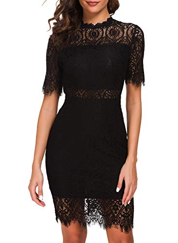 Zalalus Women's Lace Dresses for Cocktail Wedding Party Elegant High Neck Short Sleeves Above Knee Length Summer Bodycon Casual Midi Dress Black US4