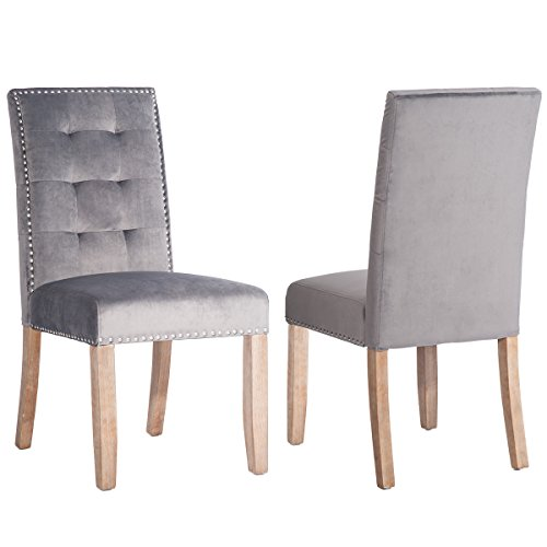 Merax PP036192 Set of 2 Stylish Tufted Upholstered Fabric Dining Chairs with Nailhead Detail and Solid Wood Legs (Velvet Grey), ()