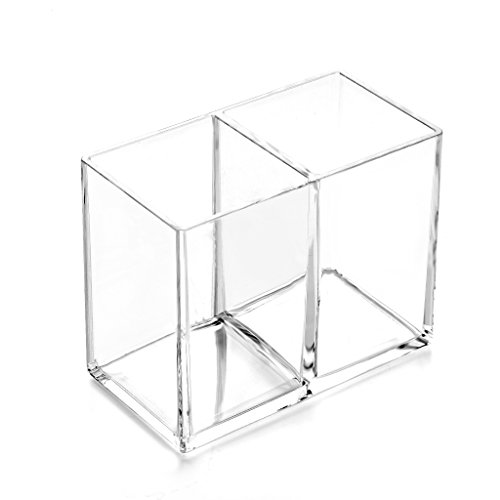 - HanLingGG Clear Acrylic Makeup Brush Holder Pen Pencil Cup Holder Cosmetic Storage Case Desktop Stationery Organizer with 2 Compartments for Home Office and School