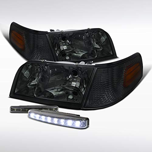 Autozensation For Ford Crown Victoria Smoke Headlights+8-LED DRL Fog Lamps