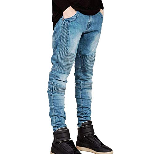 Los Skinny Pantalones Mens Estiramiento Mezclilla De Pantalones De Hellblau Fit Jeans Legging Slim Algodón De Vaqueros Hombres Motos Biker gwPn8fEO