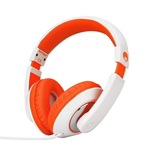 RockPapa Over Ear Stereo Headphones Earphones for Adults Kids Childs, Noise Isolating, Adjustable, Heavy Deep Bass for iPhone iPod iPad Macbook Surface MP3 DVD SmartPhones Laptop (White/Orange)
