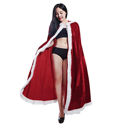 Christmas Halloween Velvet Hooded Long Robe Cloak Mrs Santa Claus Costume Cape Dress up Props -