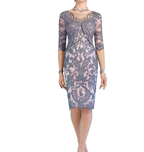 Damen Grau Charmant Grau Promkleider Knielang Brautmutterkleider Etuikleider Abendkleider Luxurioes AdqzO