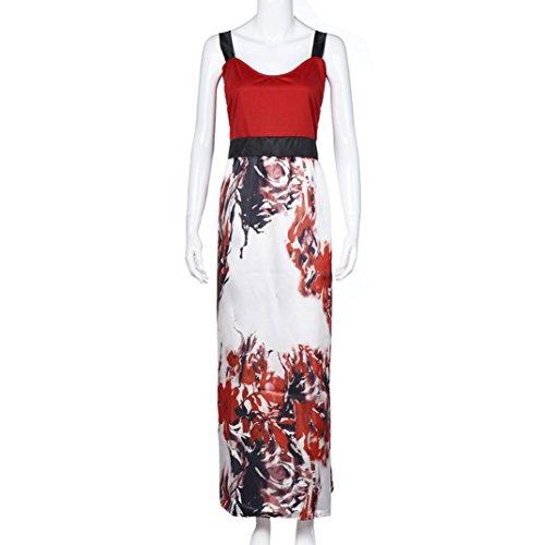 OverDose Más tamaño de las mujeres florales impresas largo vestido de noche fiesta vestidos formales Rojo