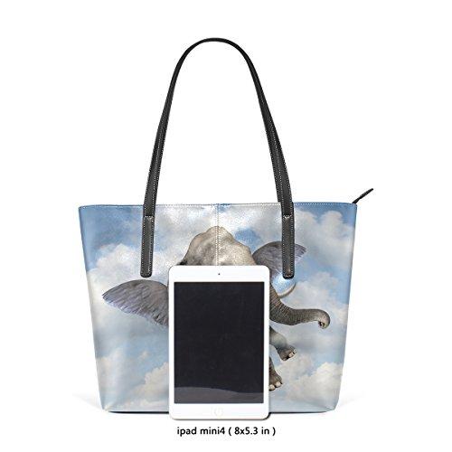 COOSUN Elefant-Himmel-PU-Leder-Schulter-Beutel-Geldbeutel und Handtaschen-Einkaufstasche für Frauen