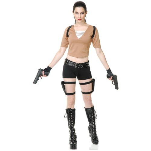 Costumes Gun Holster Lara Croft (Tomb Fighter Adult Costume - Large)