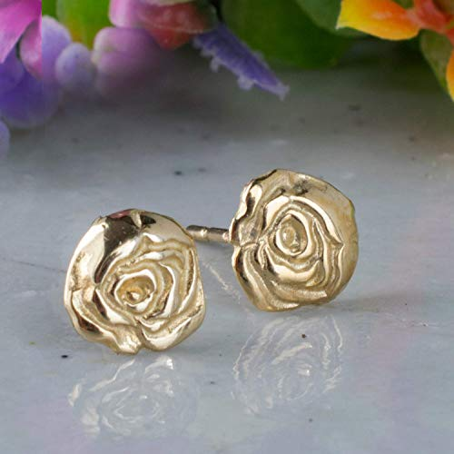 14K Solid Yellow Gold - Rose Stud Earrings, Tiny Roses, Flowers Studs, Handmade Dainty Jewelry, Pushback Closure Earrings, Simple Delicate Minimalist Birthday Gift for Girls and Young Women
