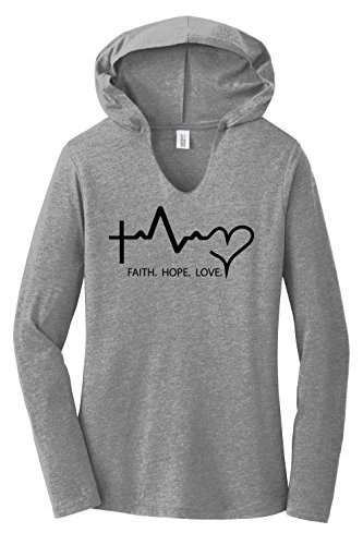 Comical Shirt Ladies Hoodie Shirt Faith Love Hope Grey Frost 2XL from Comical Shirt