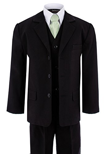 Gino Giovanni G230 Boy Black Suit with Green Tie From Bab...