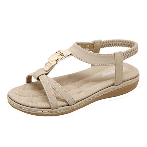 abiertos mujeres Mujer de Strass moda mujeres zapatillas para de pie Bohemia tacones Las Sandalias las zapatos de Verano C LMMVP xXYOnwqS