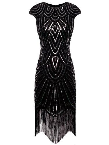 FAIRY COUPLE 1920s Sequined Embellished Tassels Hem Flapper Dress D20S002(S,Black Sliver)
