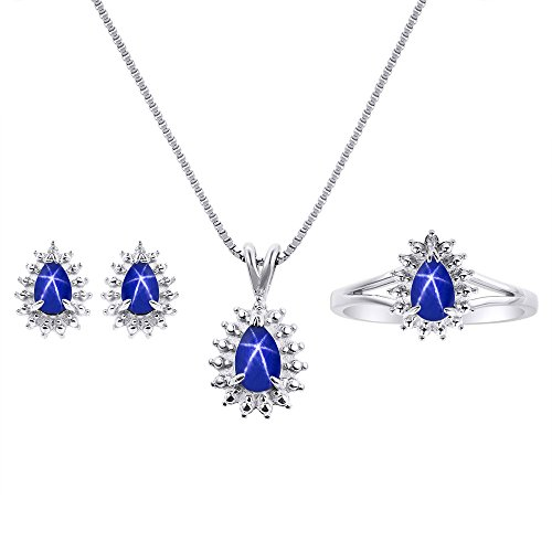 (Blue Star Sapphire Matching Earrings, Pendant Necklace and Ring Set In Sterling Silver .925 with 18