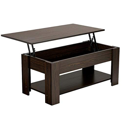 Yaheetech Adjustable Lift Top Coffee Table - with Hidden Storage Compartment for Living Room Espresso