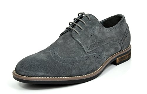 BRUNO MARC NEW YORK Bruno Marc Men's URBAN-03 Grey Suede Leather Lace Up Oxfords Shoes - 7 M US by BRUNO MARC NEW YORK