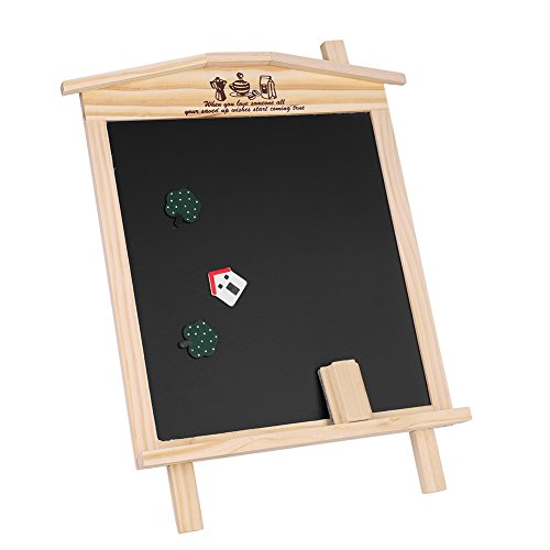 Magnetic Chalkboard Hanging & Standing, Wooden Home Set with 1 Chalk Eraser + 3 Cute Magnets Drawing Message Bulletin Board for Office Class School by ITODA