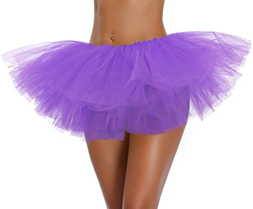 Women's, Teen, Adult Classic Elastic 3, 4, 5 Layered Tulle Tutu Skirt (One Size, Purple 5Layer) -