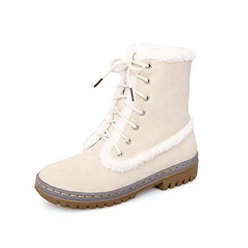Allhqfashion Women's PU Low-top Solid Lace-up Low-Heels Boots with Knot Beige VNDWJf